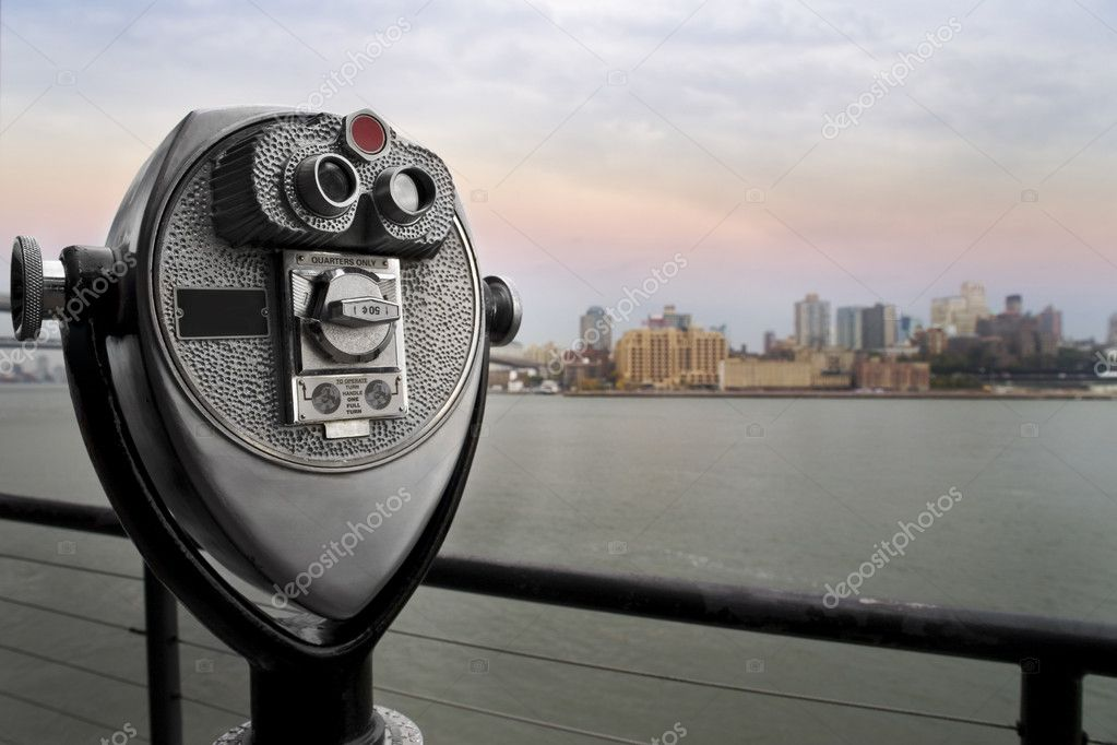 Binoculars overlooking a skyline in New York  Stock Photo #2062264