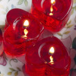 Red candles on a dish — Stock Photo