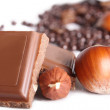 Chocolate and nuts — Stock Photo