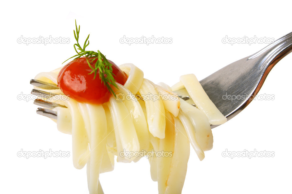 Yummy pasta, sauce, dill, parsley (close up)  Stock Photo #1953774