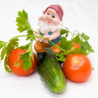 The gnome and vegetables — Stock Photo