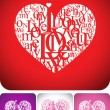 Heart typeface composition - Stock Vector