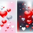 Stock Vector: Glossy hearts love backgrounds