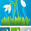 Spring nature illustration with snowdrop — Stock Vector