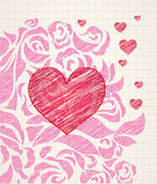 Sketchy heart and roses love doodle — Vector de stock
