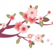Tree branch with flowers — Stock Vector