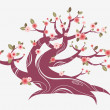 Stock Vector: Cherry blossom tree