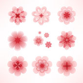Pink cherry flowers set — Stock Vector