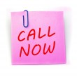 Call now pink paper note — Stock Photo
