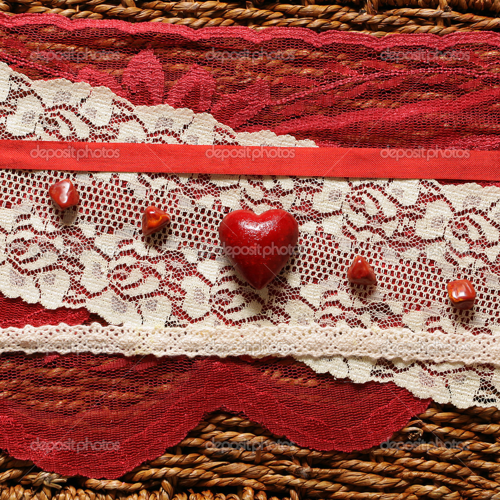 Romantic background with red hearts and ribbons — Stock Photo #1576678