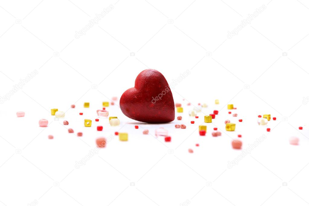 Red heart and bisser on white background  — Lizenzfreies Foto #1733701