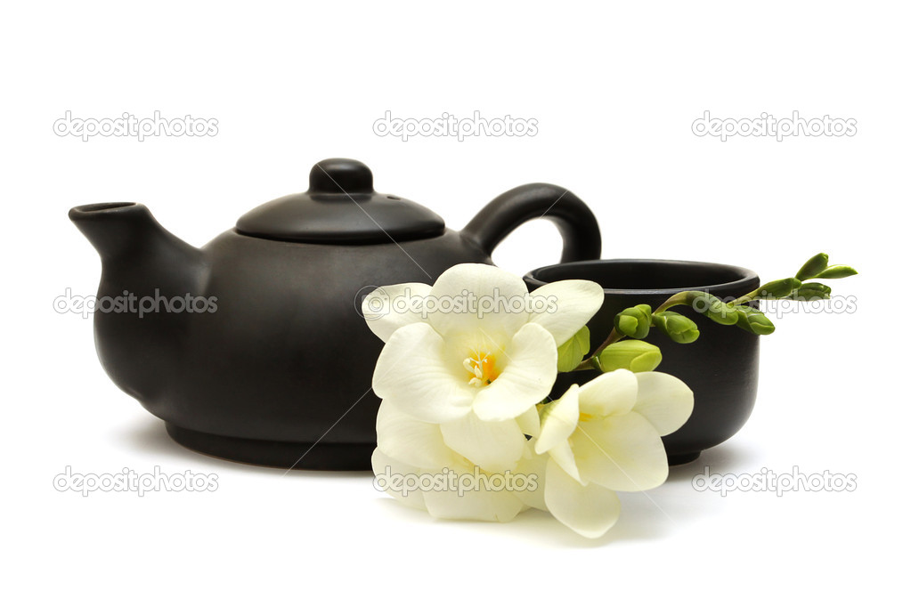 Chinese Tea Set with Teapot, cup and white flowers — Stock Photo #1784005