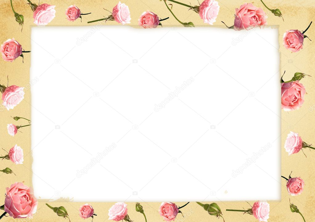 Card for congratulation or invitation with delicate pink roses — Stock Photo #1830785