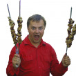 Royalty-Free Stock Photo: Man in red and kebab