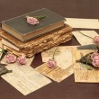 Stock Photo: Vintage background with books, candles