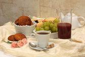 Healthy breakfast: coffee, cane sugar — Stock Photo