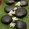 Spa background. Black stones and flowers — Stock Photo