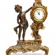 Antique clock with figurine of women — Stok fotoğraf