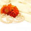 Flowers and pearls on the background — Stock Photo