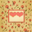 Paper frame with heart and flowers — Stock Photo