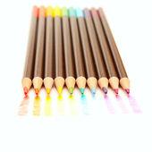 彩虹色的绘图和铅笔 — 图库照片