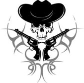 Two revolvers and skull in hat — Stock Vector