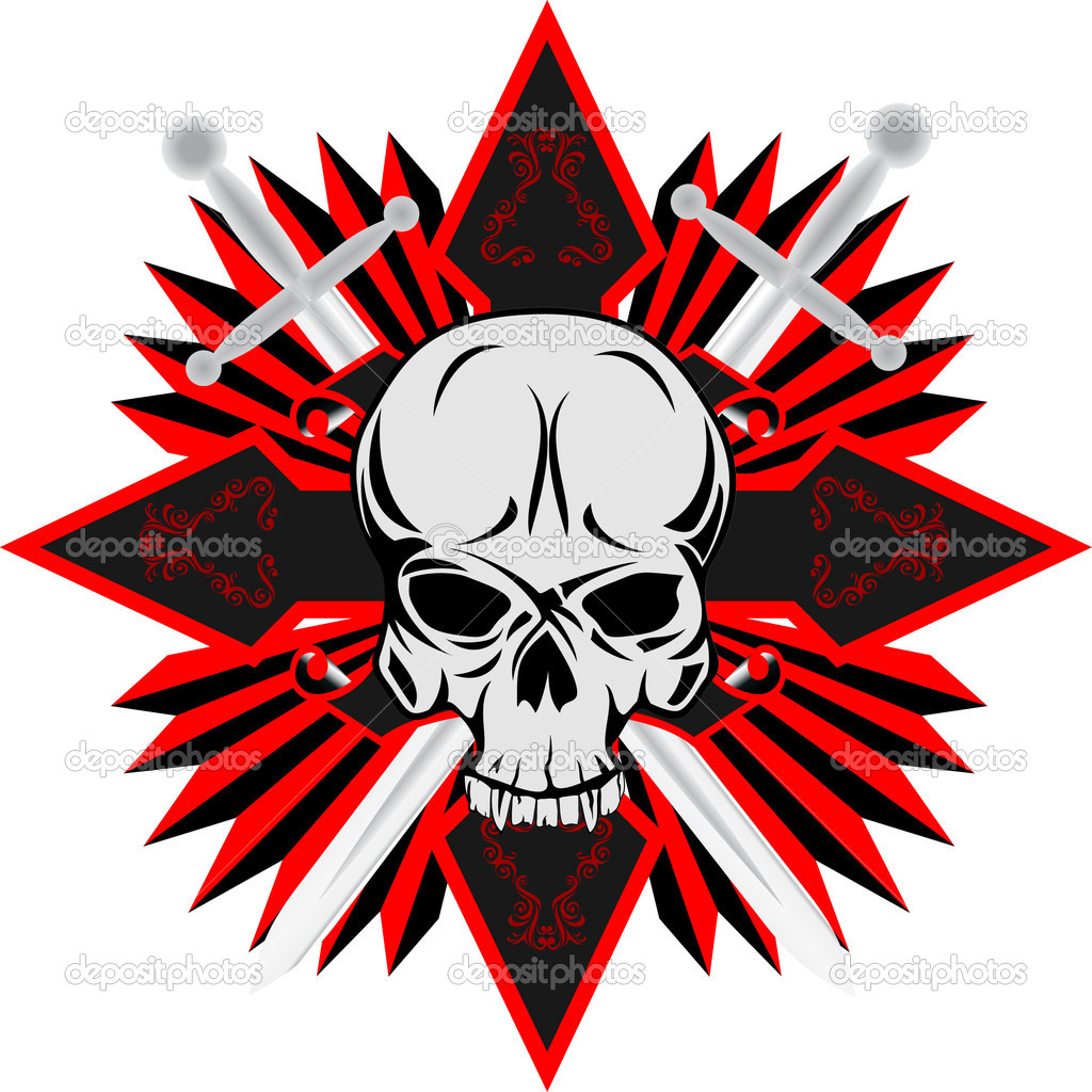 Vector image of human skull with cross — Stock Vector #1634454
