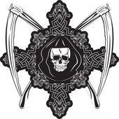 Skull in cross — Stock Vector