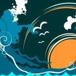 seascape abstrata com onda e gaivota — Vetorial Stock