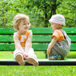 Stock Photo: Little boy and little girl