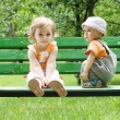 The little boy and the little girl - Stock Photo