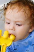 The little boy with toy — Stock Photo