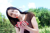 The young woman with cherry — Stock Photo