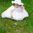 The small girl in a hat on the nature — Stock Photo #2054439