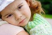 The little girl is upset — Stock Photo