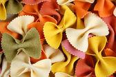 Farfalle pasta food background — Stock Photo