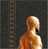 Male figure and ladder — Stock Photo