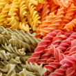 Stock Photo: Four flavors of fusilli pasta
