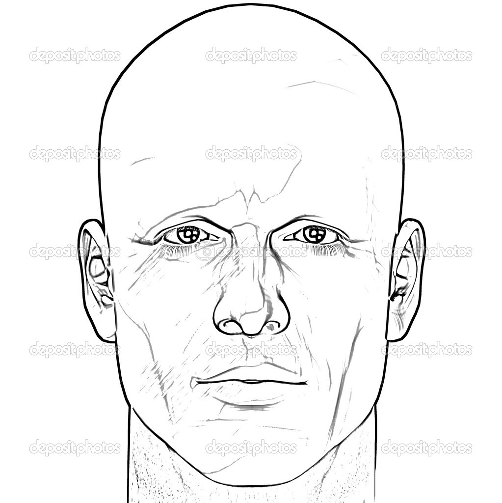 Black and white male figure sketch. Computer rendered illustration.  Stock Photo #2071829