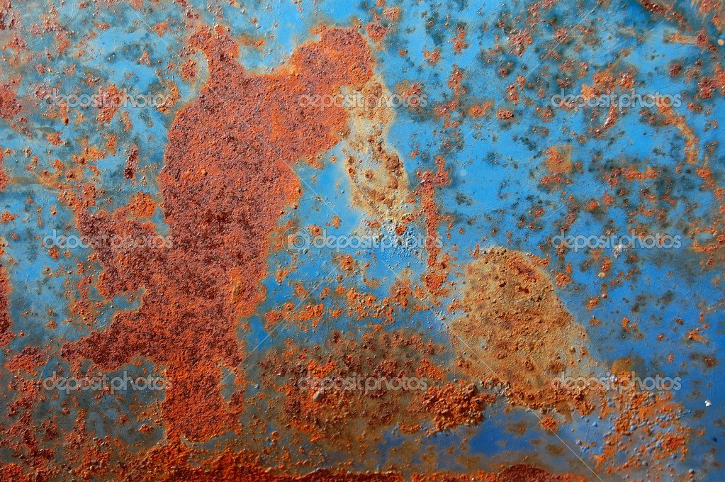 Metal texture with blue paint and rust. — Stock Photo #2072584