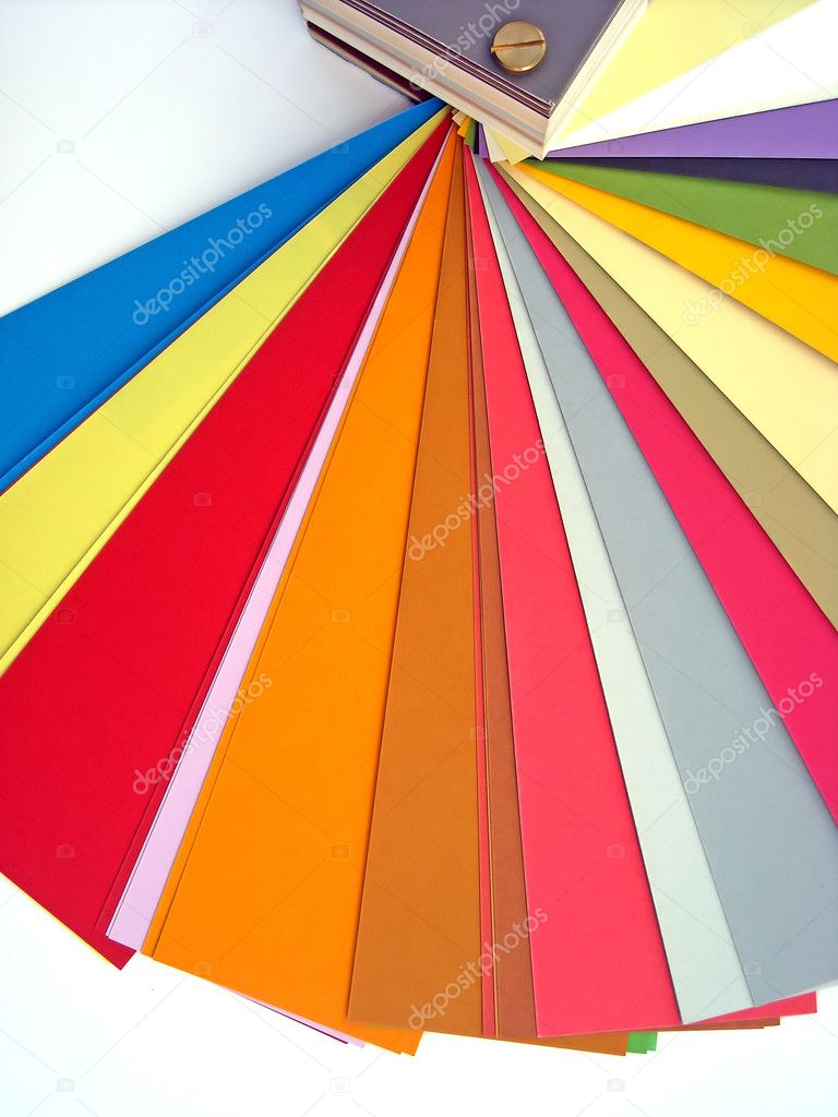 Paper color chart background. Different weights and colors of printing paper. — Stock Photo #2205826