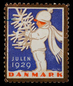 Christmas postage stamp — Foto de Stock