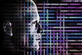 Człowiek i komputer kod — Zdjęcie stockowe