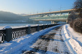Luzhnetsky quay, winter city landscape — Stock Photo