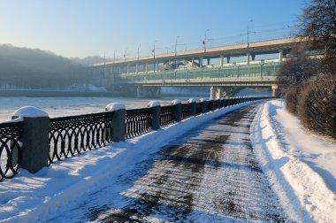 Luzhnetsky quay, winter city landscape