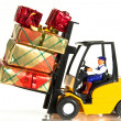 Forklift and presents — Stock Photo