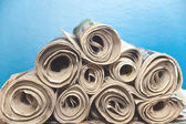 Rolled upNewspapers — Stock Photo