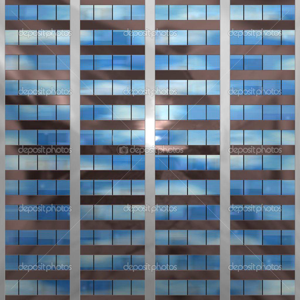 An illustration of a block of office windows that will tile seamlessly — Stock Photo #1648994
