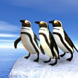 Royalty-Free Stock Photo: Three penguins standin on ice