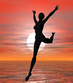 Sunset leaping — Stock Photo